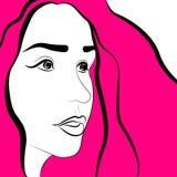 Das Gesicht der rosa Frauen mit dem Haar Stockbild
