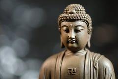 Das Gesicht des Buddha-ähnlichen Zens auf natürlichem Hintergrund stockbild