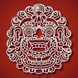 Das Gesicht des mythologischen Gottes Balinesetradition Barong Stockfoto