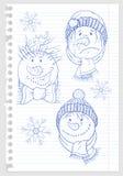 Das Gesicht des Schneemannes auf Blatt Papier Stockbild
