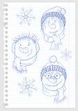 Das Gesicht des Schneemannes auf Blatt Papier 2 Stockfotos