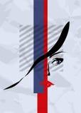 Das Gesicht, die Augen und die Lippen des abstrakten Mädchens Lizenzfreies Stockbild