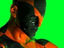 Das Gesicht eines abstrakten bunten schwarz-roten Mannes Stockfoto