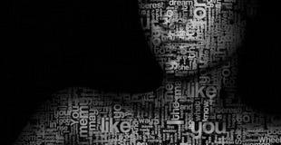 Das Gesicht von Buchstaben und ein Satz Wörter Kunstfoto Stockfoto