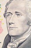 Das Gesicht von Hamilton das Dollarscheinmakro Lizenzfreie Stockbilder