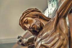 Das Gesicht von Jesus Christ mit Dornenkrone lizenzfreie stockfotografie