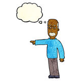 das Gestikulieren des alten Mannes der Karikatur gehen hinaus! mit Gedankenblase Lizenzfreie Stockfotos