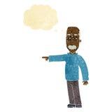 das Gestikulieren des alten Mannes der Karikatur gehen hinaus! mit Gedankenblase Stockfoto