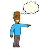 das Gestikulieren des alten Mannes der Karikatur gehen hinaus! mit Gedankenblase Lizenzfreies Stockbild