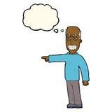 das Gestikulieren des alten Mannes der Karikatur gehen hinaus! mit Gedankenblase Stockfotos
