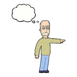 das Gestikulieren des alten Mannes der Karikatur gehen hinaus! mit Gedankenblase Stockbild