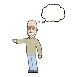 das Gestikulieren des alten Mannes der Karikatur gehen hinaus! mit Gedankenblase Lizenzfreie Stockbilder