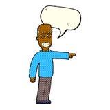 das Gestikulieren des alten Mannes der Karikatur gehen hinaus! mit Spracheblase Stockfotografie