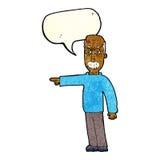 das Gestikulieren des alten Mannes der Karikatur gehen hinaus! mit Spracheblase Stockfotos