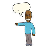 das Gestikulieren des alten Mannes der Karikatur gehen hinaus! mit Spracheblase Lizenzfreie Stockfotografie