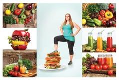 Das gesunde Lebensmittel und die fette Frau Lizenzfreies Stockbild