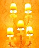 Das Glänzen mit fünf Lampen stockbild