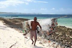 Das glückliche fishman in Mauritius Lizenzfreies Stockbild