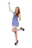 Das glückliche hübsche Mädchen lokalisiert auf Weiß stockbild