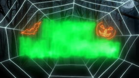 Das glückliche Netz der Halloween-Schleifen-Animations-Spinne stock video footage