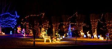 Das Glühen von Weihnachtslichtern gegen den frischen Schnee lizenzfreie stockbilder