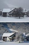 Das gleiche Haus Schneesturm und ein sonniger Tag Stockfotografie