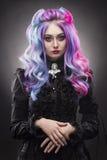 Das gotische mehrfarbige Haarmädchen auf einem grauen Hintergrund stockfoto