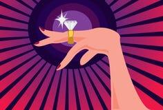 Das größer der Diamant-Ring, das glücklicher die Frau vektor abbildung