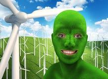 Das grüne Gesicht des Menschen, das auf Natur lächelt Lizenzfreies Stockfoto