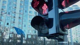 Das grüne Licht der Ampel schaltet ein Die Markierungsfahne der Europäischen Gemeinschaft Freie Methode stock footage