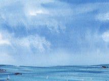 Das grenzenlose blaue Meer, dehnend in den Horizont, unter den azurblauen Himmel aus Von Hand gezeichnete Aquarellillustration lizenzfreie abbildung