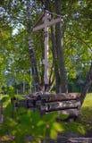 Das hölzerne Kreuz des Gedächtnisses von Grigory Rasputin Stockbilder