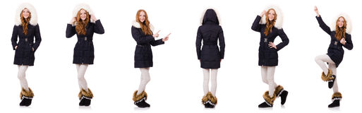 Das hübsche Mädchen in der warmen Kleidung lokalisiert auf Weiß stockfotos