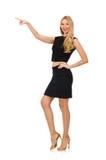 Das hübsche Mädchen im schwarzen Minikleid an lokalisiert Stockbild