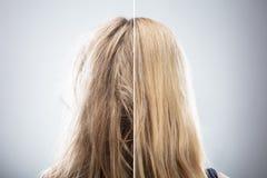 Das Haar der Frau vor und nach dem Haar-Geraderichten lizenzfreies stockbild