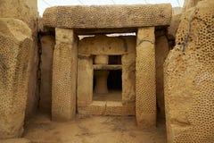 Das Haupt-trilithon am Südtempel der Mnajdra-Tempel, M Lizenzfreies Stockbild