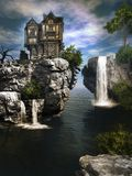 Das Haus über Wasserfall Stockfotos