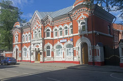 Das Haus gebaut in der pseudo-russischen Art Moskau, im Stadtzentrum gelegen stockbilder