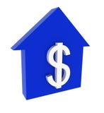 Das Haus und die Markierung des Dollars Lizenzfreies Stockfoto