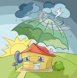 Das Haus unter Regenschirm Lizenzfreie Stockfotografie