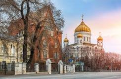 Das Haus von Pertsova und die Kathedrale von Christus der Retter Stockbilder