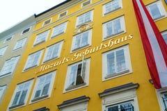 Das Haus in Wolfgang Amadey Mozart war, Salzburg, Österreich geboren Lizenzfreie Stockfotografie