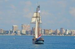 Das Heck eines klassischen Segelboots lizenzfreies stockbild