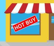 Das heiße Kauf-Zeichen, das billig darstellt, verhandelt Illustration 3d stock abbildung