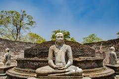 Das heilige Viereck mit Buddha, alte Ruinen in Polonnaruwa in Sri Lanka stockbilder