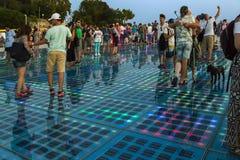 Das helle Installation `, welches das Sun-` nachts, Zadar, kroatisch grüßt lizenzfreie stockbilder