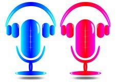 Das helle Mikrofon und der Kopfhörer Lizenzfreies Stockfoto