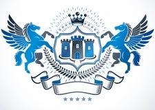 Das heraldische Zeichen, das mit Vektorweinleseelementen geschaffen wird, mögen würdevoll lizenzfreie abbildung