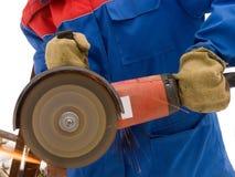 Das Hilfsmittel, das für elektrisch ist, sind scharfes Metall stockfoto