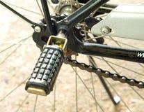 Das hintere Fußpedal des Fahrrades stockbilder
